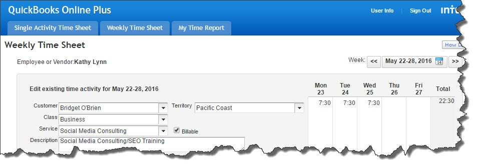 QuickBooks Online time tracking only status