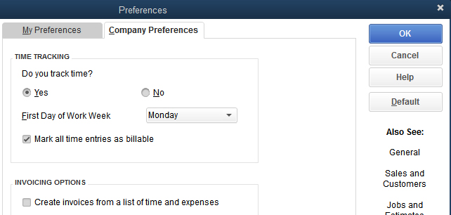 Time & Expenses preferences in QuickBooks Desktop