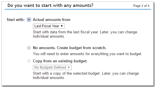 QuickBooks Olnine budget options