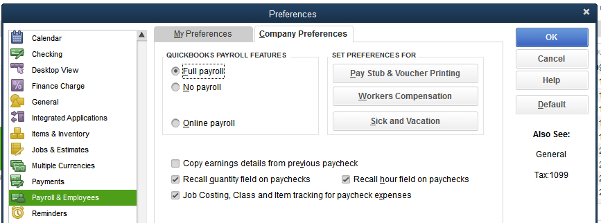 QuickBooks Desktop Payroll & Employees preferences