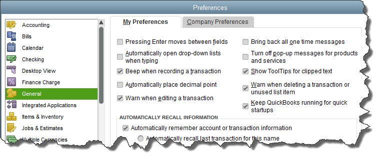 Setting QuickBooks Desktop preferences