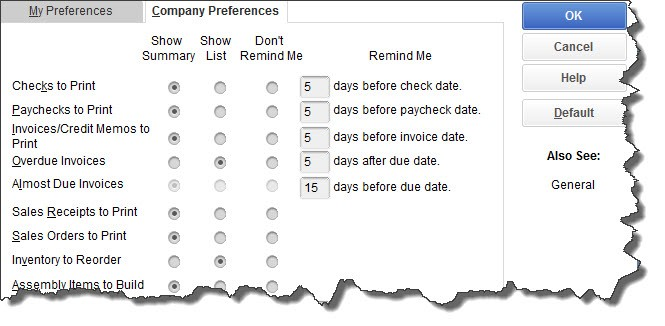QuickBooks Desktop Preferences: Reminders