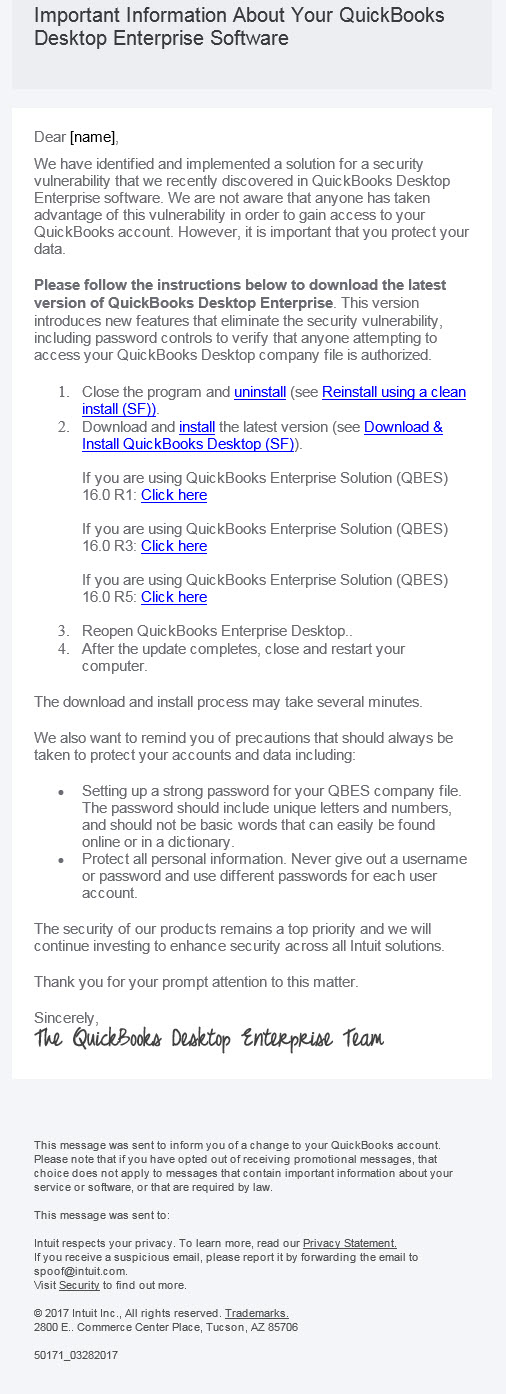 QuickBooks Enterprise Team email is real