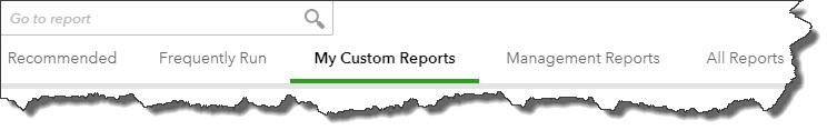 QuickBooks Online Reports page toolbar