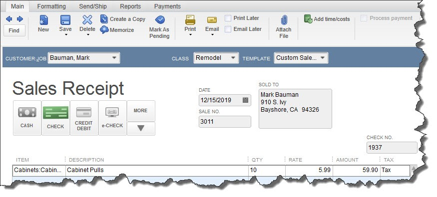 QuickBooks Desktop Enter Sales Receipts window