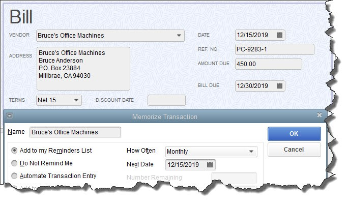 QuickBooks Desktop memorized transactions