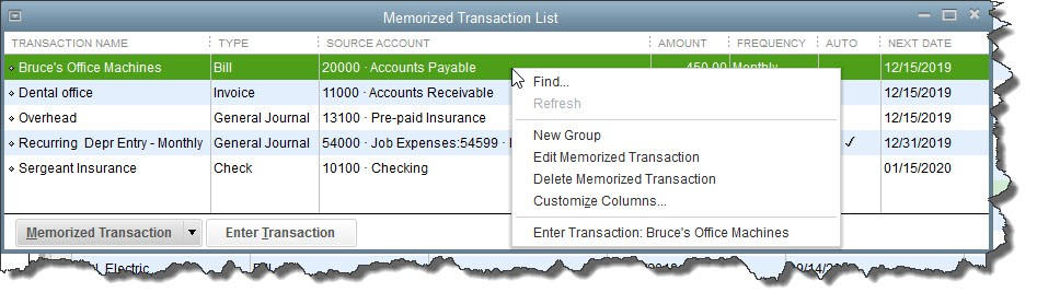 QuickBooks Desktop Memorized Transaction List