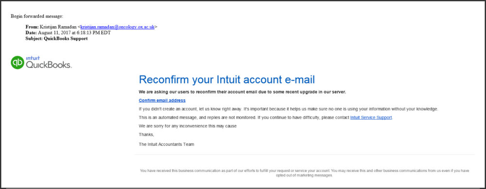 Example of scam email posing as Intuit
