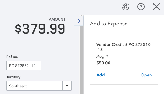 Using a Vendor Credit in QuickBooks Online