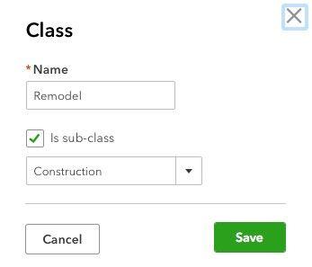 Creating Classes in QuickBooks Online