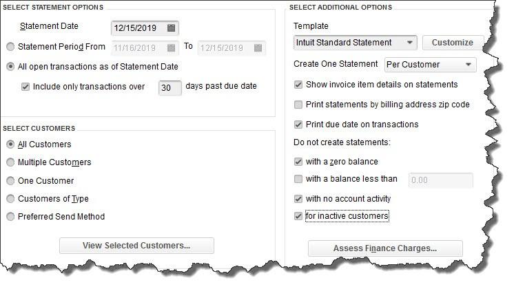 Creating customer statements in QuickBooks Desktop