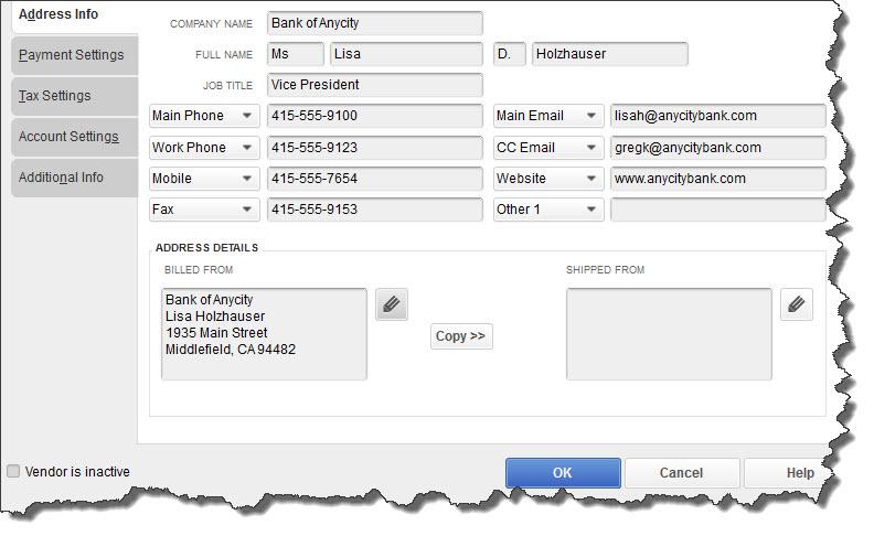 Vendor records in QuickBooks Desktop