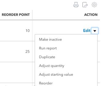 QuickBooks Online Products/Services item edit menu