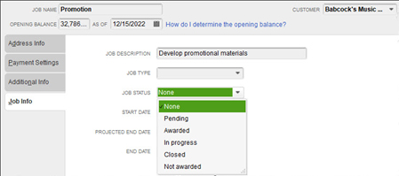 Creating new Job in QuickBooks Desktop