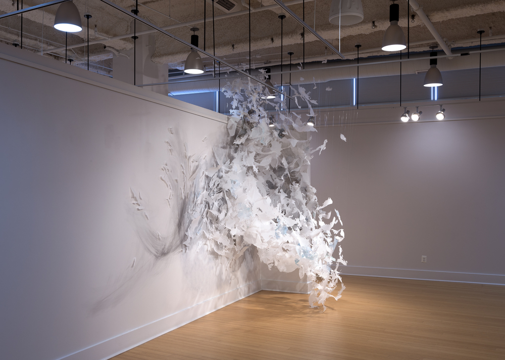 Untitled  2015, mixed-media, approx. 15'w x 15'h x 5'd  Iterations, Installation at VisArts, Rockville