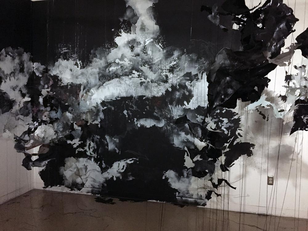 """Przeswity, rozwidla (""""It grows and bifurcates until the whole"""")  2015, paint, Mylar, thread, felt, pins, approx. 10'h x 15'w x 10'd"""