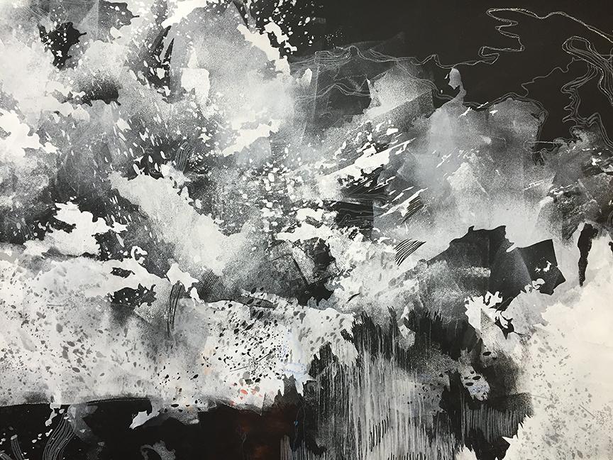 """Przeswity, rozwidla (""""It grows and bifurcates until the whole"""")  2015, detail, paint, Mylar, thread, felt, pins, approx. 10'h x 15'w x 10'd"""