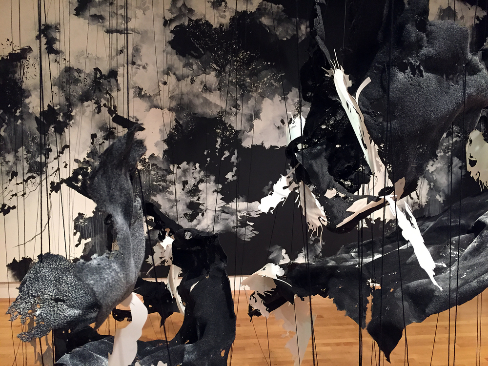 In the Liminal  2016 Paint, markers, mylar, thread, felt, monofilament  Dimensions variable Installation created at the University of Maryland Art Gallery, University of Maryland, College Park, MD