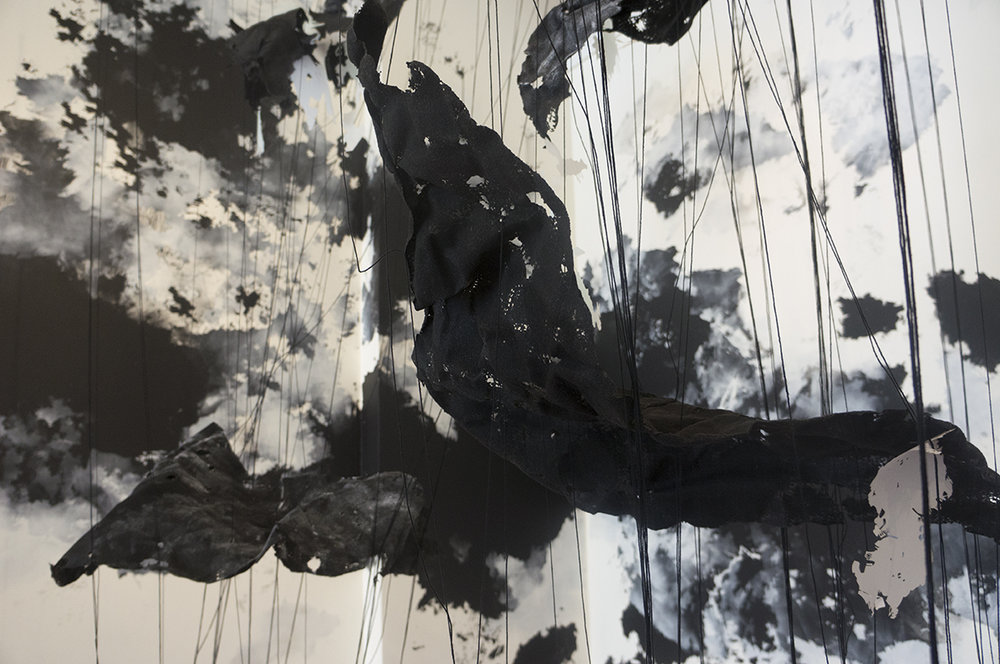 Unseen Patterns (Feb. 28, 2015, 11:41am, Chesapeake Bay- Aug. 24, 2016, 9:03 AM Georgia)   2016   Paint, markers, mylar, thread, felt, monofilament     Dimensions variable   Created with the support from Augusta Westobou Festival, Inc.