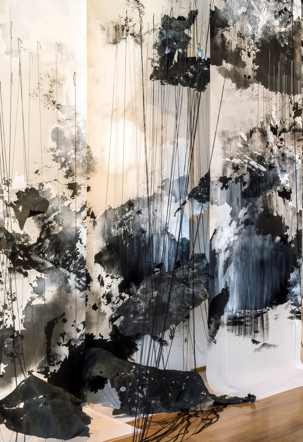 Vanishing Point  (Feb. 28, 2015, 11:41 am, Chesapeake Bay-  Jan. 12, 2017, 11:32 am, Alsek Glacier, Yukon)  2017  Acrylic paint, markers, thread, monofilament, felt, mylar  11 x 17 x 6 ft