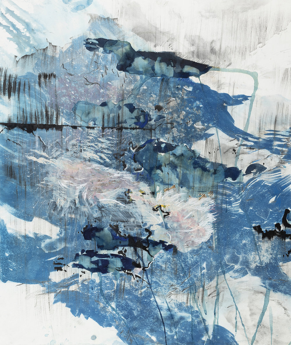 Fluid, Exposure 1  Cyanotype, Ink, acrylic, pencil, conte crayon, markers, and graphite on paper  2018   24.25 x 20.75""