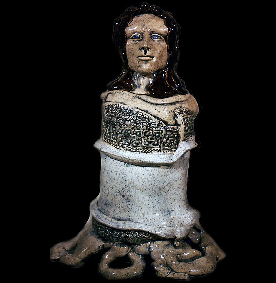 """Medusa of the Feet or Red Haired Woman Cookie jar 22"""" 1970"""