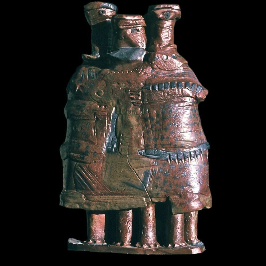 """Three- headed pot About 24"""" 1965"""