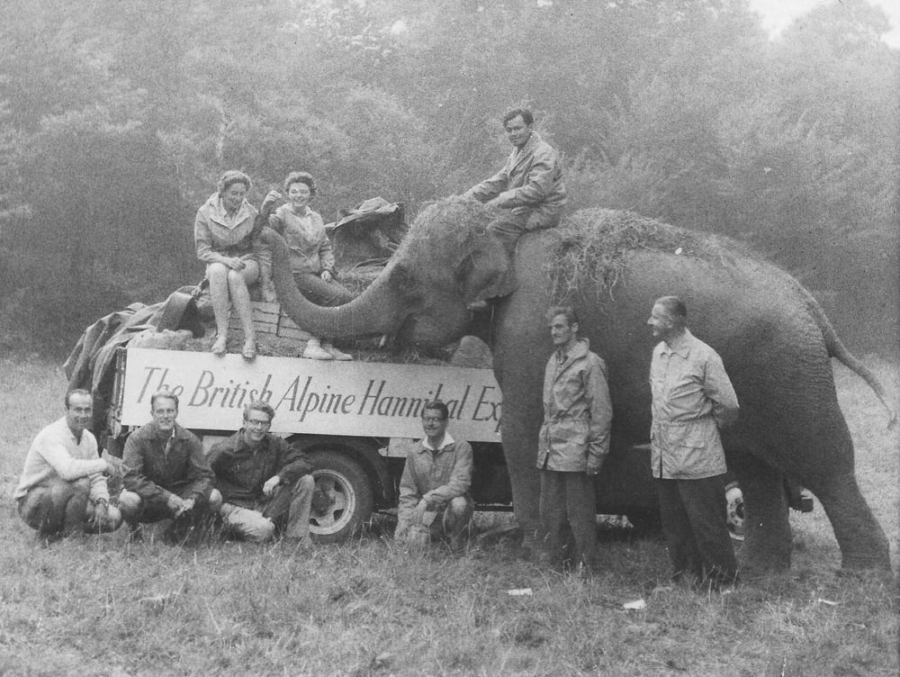 Our team on the Hannibal expedition.1959. From left: Baldi, Michael, Richard, John, Ernesto and Colonel John Hickman. Cynthia and Claire  on truck, Jimmy on Jumbo.