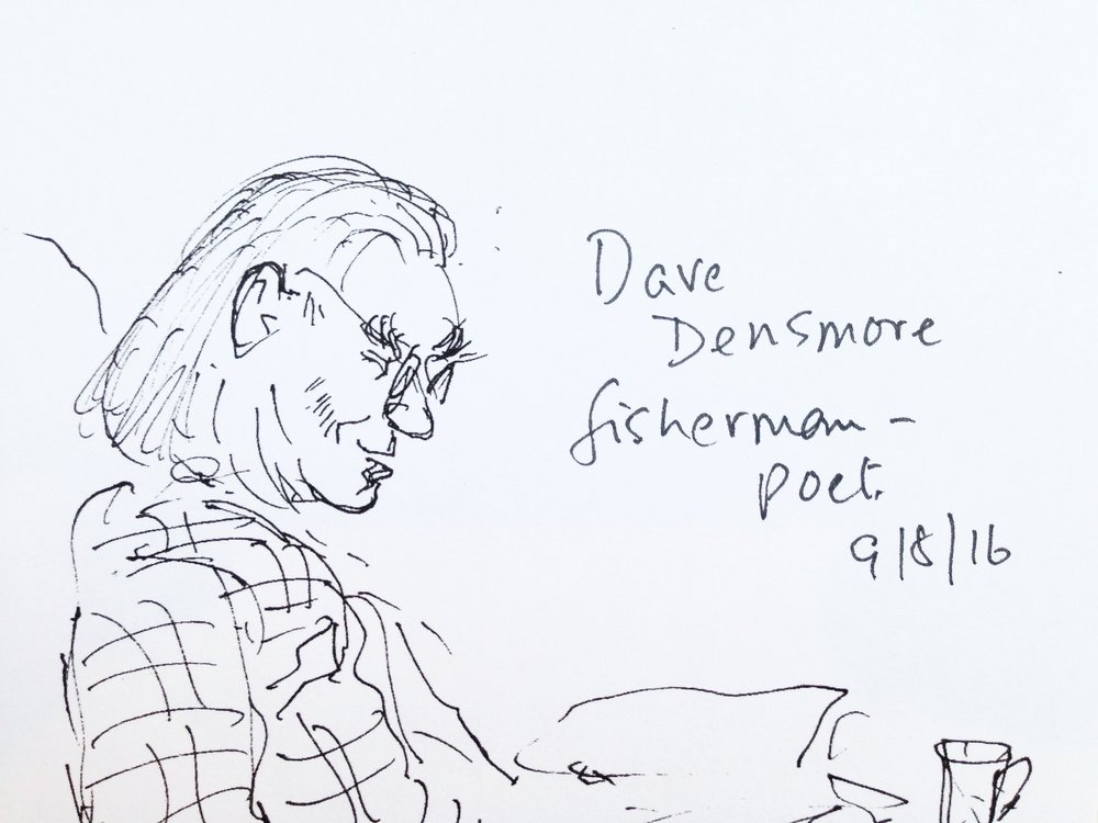 Dave Densmore, our fisherman-poet reading one of his sagas.