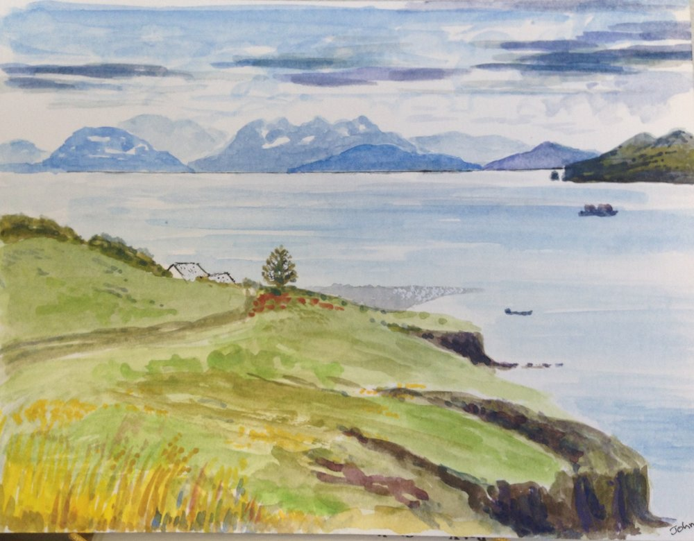 Kodiak Island from Harvester Island. If you enlarge the picture you might see the seagulls on the spit.