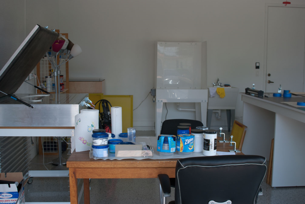 My silkscreen studio. When I'm pulling silkscreen prints, I find it extremely gratifying.