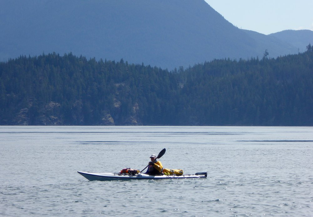 Paddling against the tide towards Johnson Strait