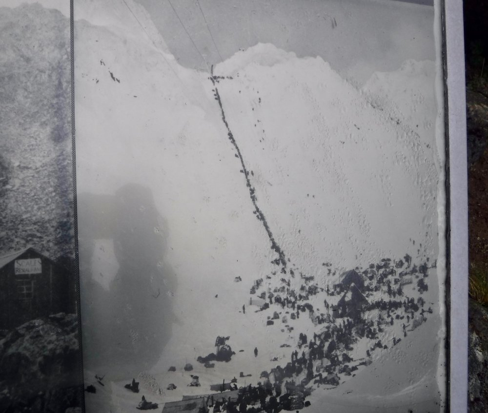 The black line in the center is made of people on their way to the summit.