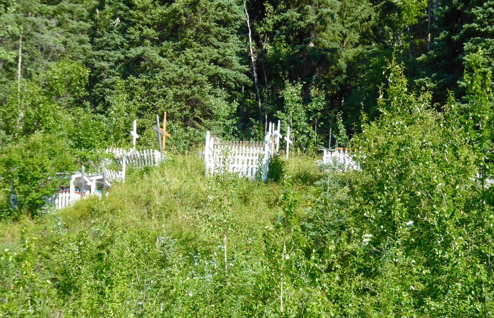 Cemeteries are usually on a hillside right outside of town.