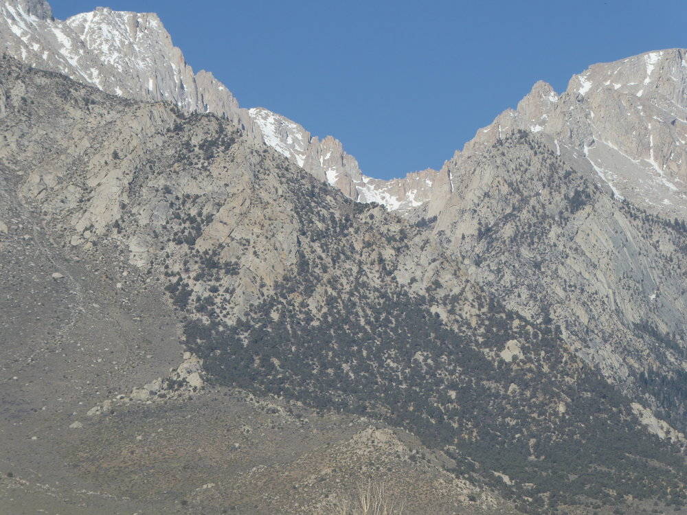 Looking towards Mt. Whitney. Our goal when we hike thru the sie is to summit Mt. Whitney, the highest peak in the lower 48.  May 16