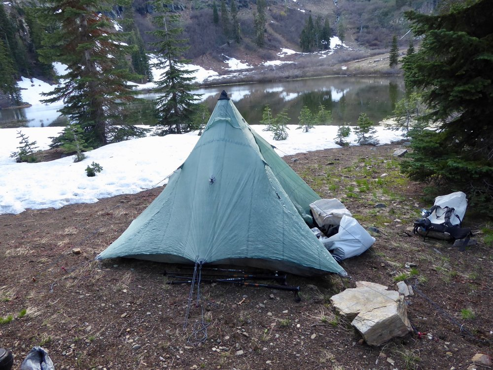 Find a place to set up the tent on snow free ground and are ready for a good night sleep.