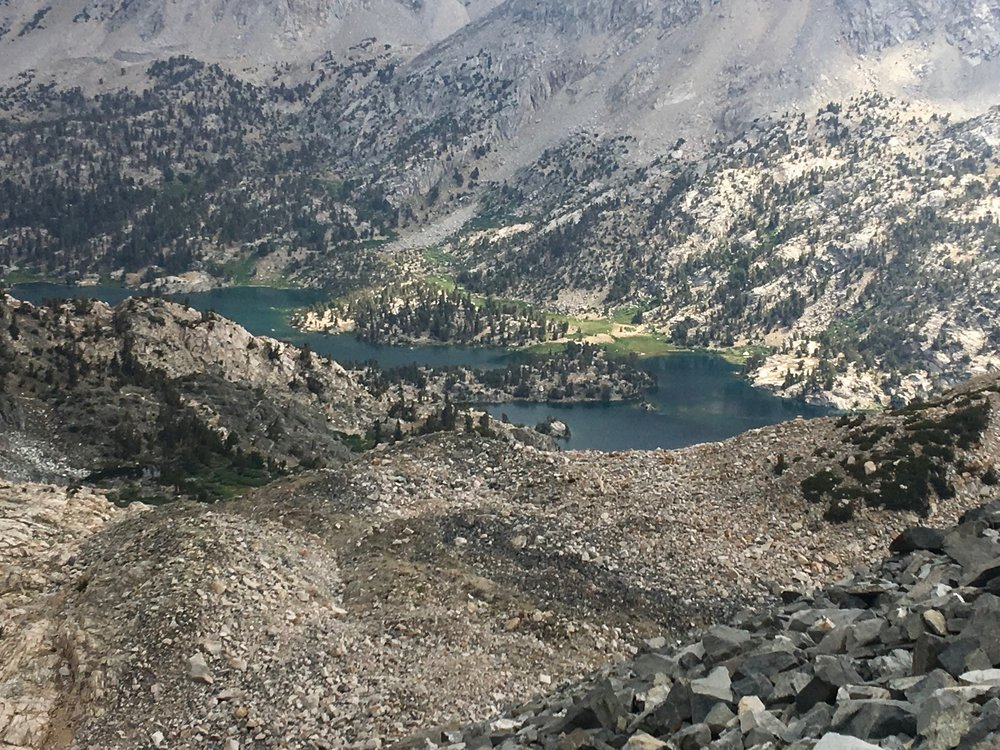 Rae Lakes are far below us.