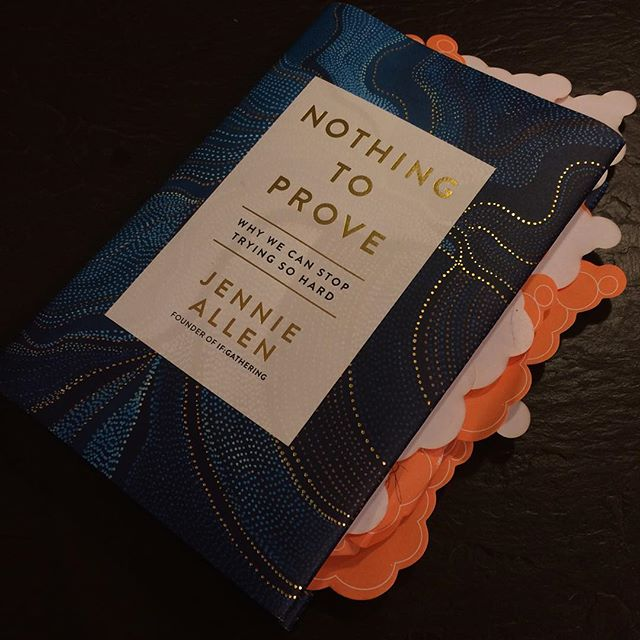 Just finished this GEM... me and my sticky notes were having a hay day. So much truth, such a needed message.... we can stop trying hard in our self-help world  because we were never supposed to be enough because JESUS already is people. Review coming soon on the blog.... if my orange stickies don't overwhelm me! Thank you @jenniesallen your words are timely in my life, anchored in Truth and point me to Him... as always #everydaytruthca #nothingtoprovebook #jennieallen #heisenough #airdrie360 #airdriemoms