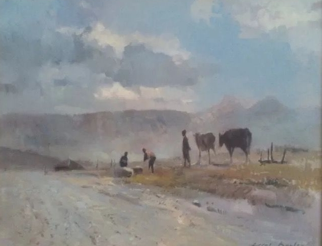 """""""South African Village with Cattle"""" oil on Masonite signed Errol Boyley"""