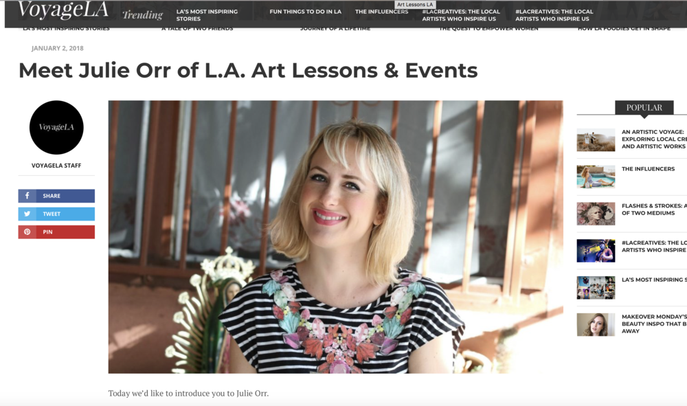 Interview with Art Lessons LA founder, Julie Orr, and Voyage Magazine.