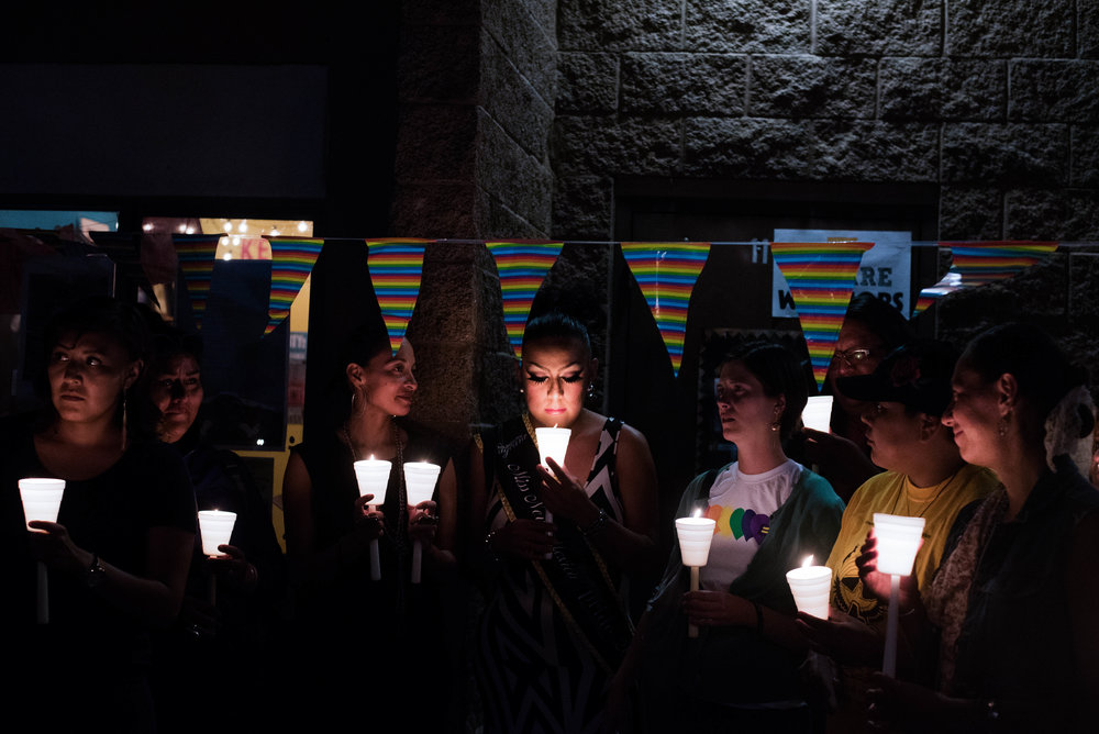 People gather in solidarity at a candlelight vigil as part of the first Diné Pride event in Window Rock, Arizona on June 30, 2017. Though the Navajo people used to recognize four genders, LGBT individuals face discrimination on the reservation. Many blame this on the lasting effects of colonization.