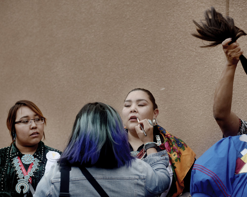 Contestants prepare for the Gallup Intertribal Ceremonial crowing ceremony.