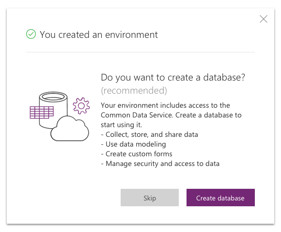 Dialog to create a database for your new environment