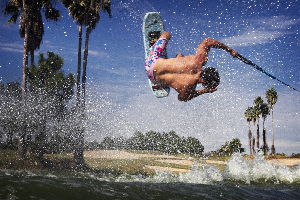 World-champion waterskier Thibault Dailland executing an ollie over my head.