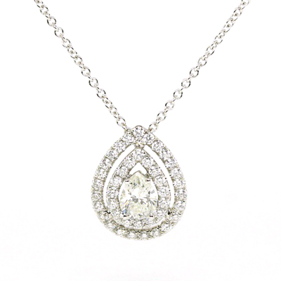 halo pear diamond pendant drop necklace