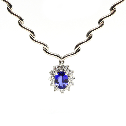 Oval tanzanite and diamond gold necklace jewelry exchange co oval tanzanite and diamond gold necklace mozeypictures Choice Image