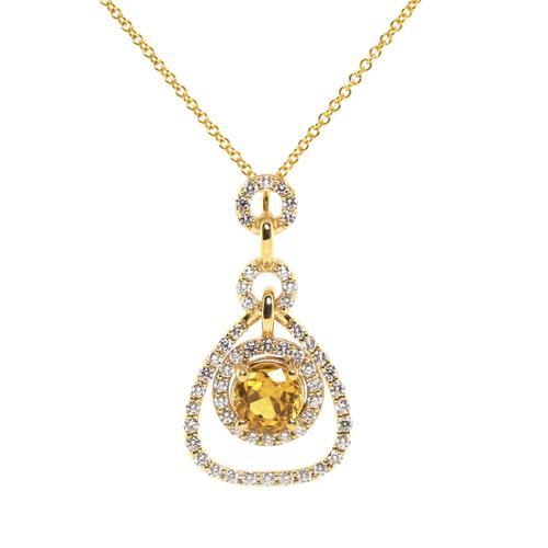 Yellow sapphire and diamond pendant jewelry exchange co yellow sapphire and diamond pendant mozeypictures Choice Image