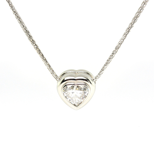 Bezel set heart shaped diamond pendant jewelry exchange co bezel set heart shaped diamond pendant aloadofball Gallery