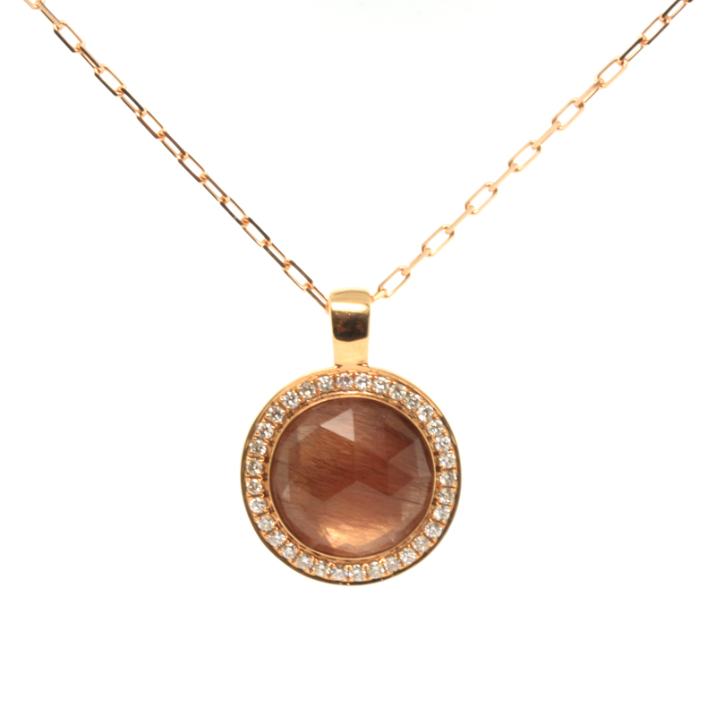 JEWELRY EXCHANGE CO. | SAN FRANCISCO: GOLD, RUTILATED QUARTZ & DIAMOND PENDANT