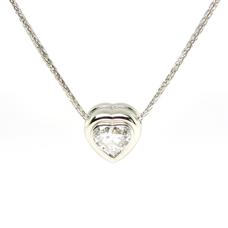 JEWELRY EXCHANGE CO. | SAN FRANCISCO: WHITE GOLD BEZEL SET HEART SHAPED DIAMOND PENDANT